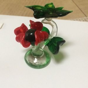 Vintage glass flower  with butterfly,